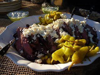 Grilled Flank Steak Greek Style