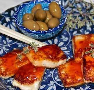 Halloumi with chili sauce…