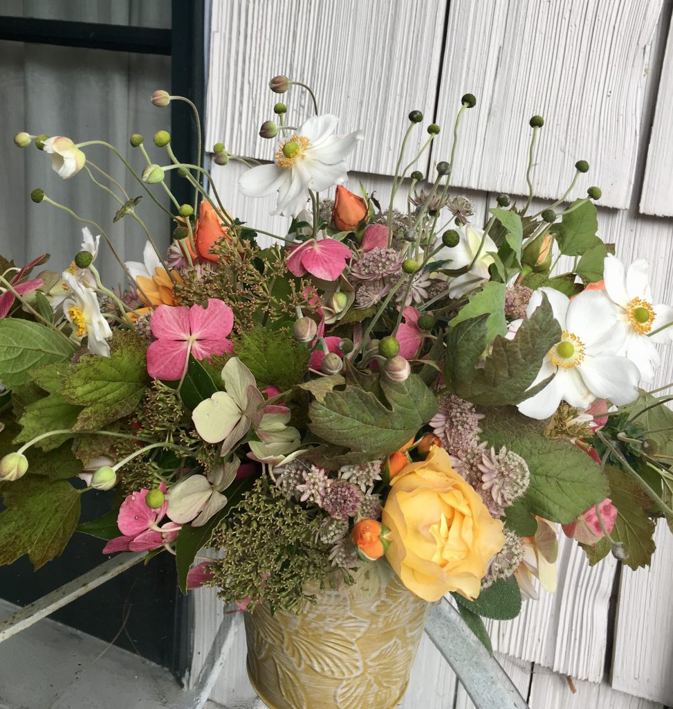 Fall bouquet, step 3: whimsical touch: Japanese Anemone seed buds