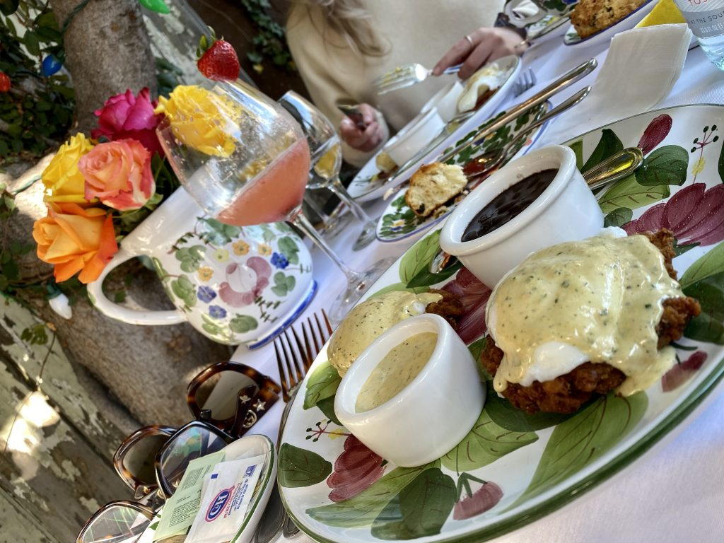 Crabcake eggs benedict, hand painted china, pitcher of roses