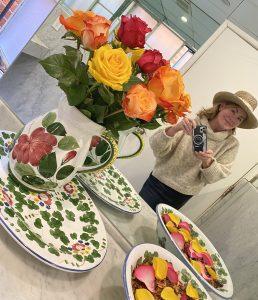 Handpainted china, selfie Emily Heston, roses
