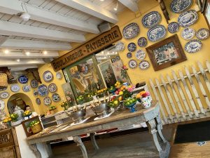 The Ivy, patina table, French antique furniture, blue and white china, yellow walls