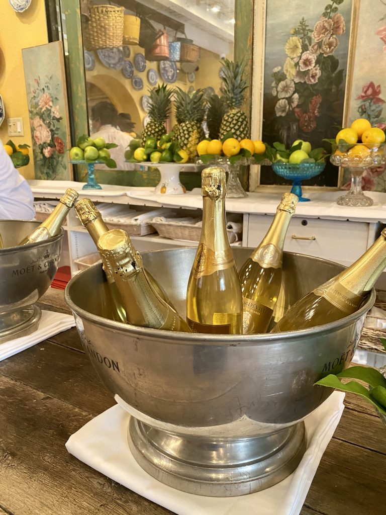 Bottles of champagne in silver bucket