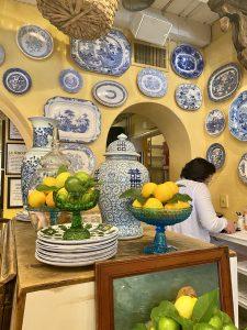 Blue and white china on yellow fresh lemon display