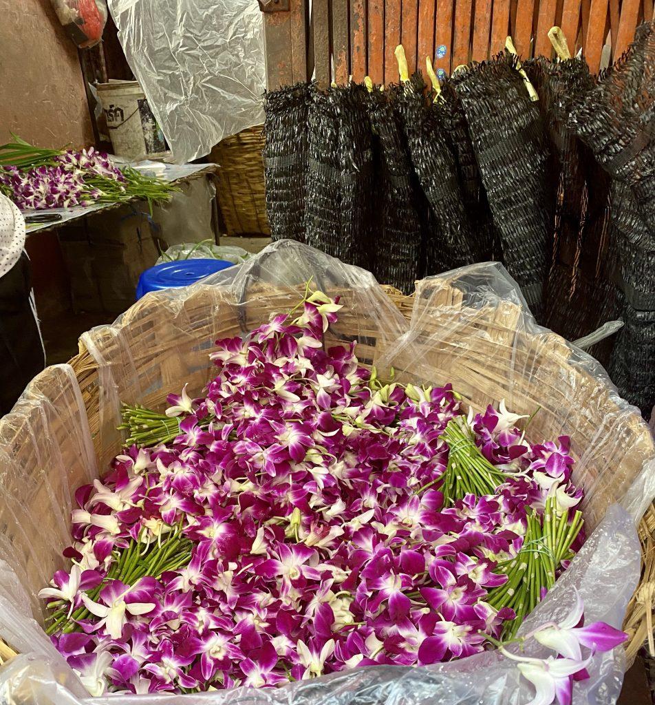 orchids, purple orchids, bangkok flower market, Pak Khlong Talat