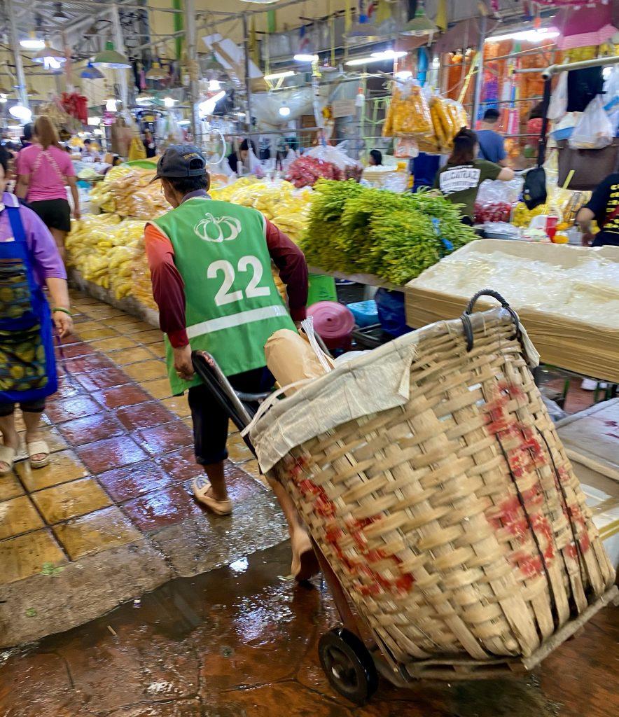 Giant basket, flower market Bangkok, Pak Khlong Talat