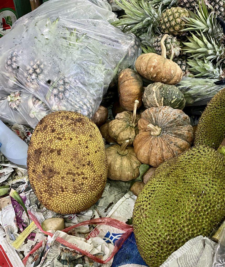 Bread fruit, jack fruit, pineapples, squash
