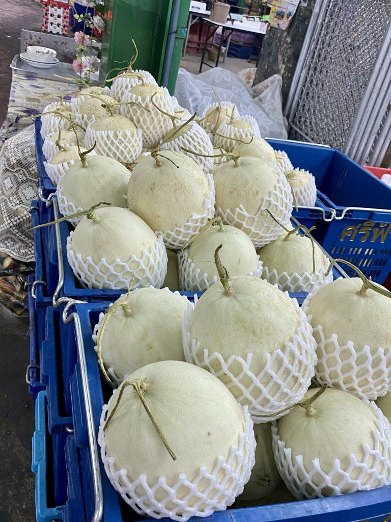 Fresh cut honeydew melons, Bangkok produce market, Pak Khlong Talat
