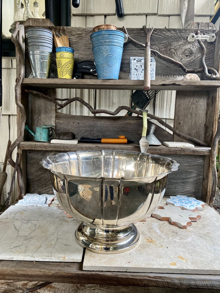 rustic potting table, potting table, silver punch bowl
