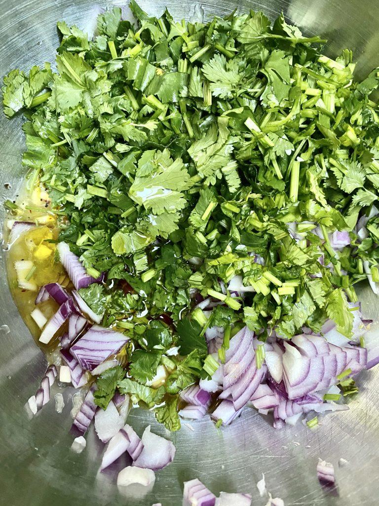cilantro, bunch of cilantro, chopped cilantro, red onions, olive oil, spices, marinade
