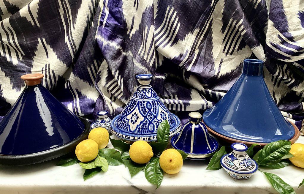 Tagine, blue tagine, blue and white tagine, tajine, lemons, easy tagine recipe
