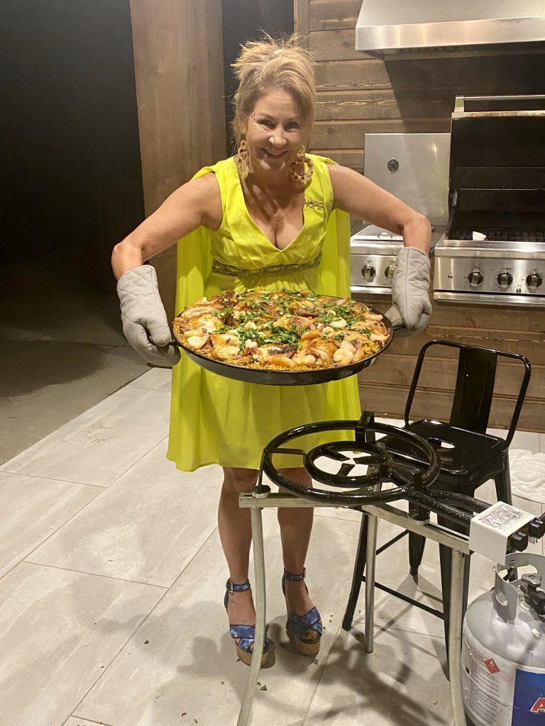 Paella, master paella recipe, chicken thighs, bomba rice, saffron, Spanish saffron, sweet peppers, peas, capers, artichoke hearts, olives, Spanish olives, chorizo sausage, Emily Heston, Splendid Market, paellera, quemadores,