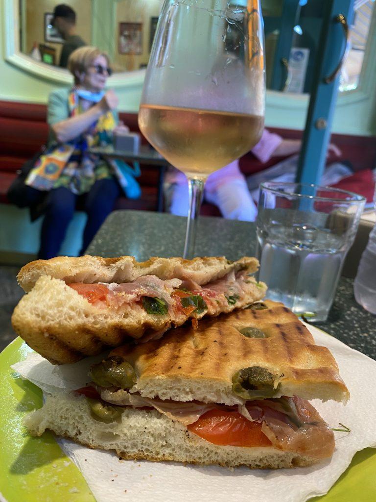 Panini sandwiches, foccacia with green olives, rosé wine Caffé Cavalier, Mercato dei Fiori, Ventimiglia, Italy, Ventimille, Italie