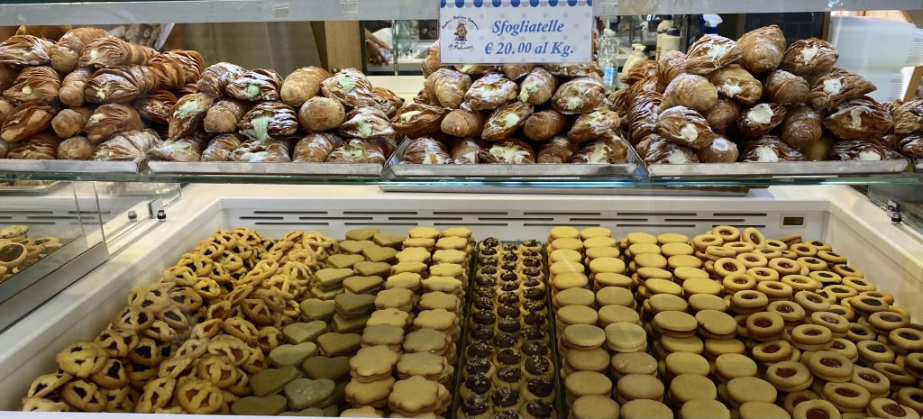 Italian pastries and breads, Mercato dei Fiori, Ventimiglia, Italy, Ventimille, Italie