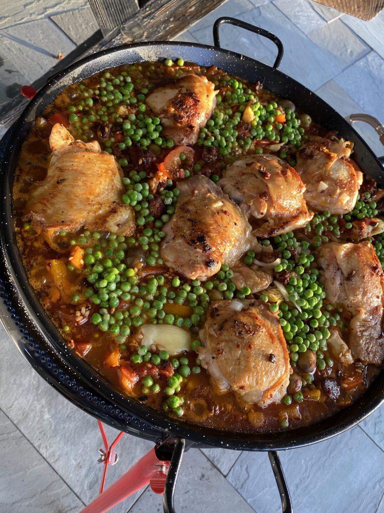 Paella, master paella recipe, saffron, Spanish saffron, chicken thighs, bomba rice, sweet peppers, peas, capers, artichoke hearts, olives, Spanish olives, chorizo sausage