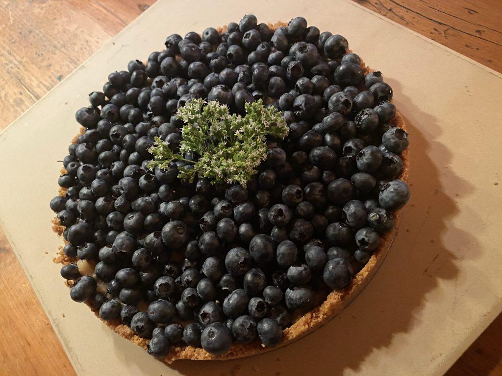no-bake blueberry tart, 5 ingredient fruit tart, graham cracker crust, tillamook salted butter, solo almond cake and pastry filling, sour cream, creme fraiche, lazy lady dessert, easy dessert, easy fruit tart, easy blueberry tart, easy fruit tart